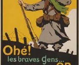 Affiche de propagande de la Première Guerre mondiale appelant les civils restés à l'arrière à donner leur argent à l'Etat.